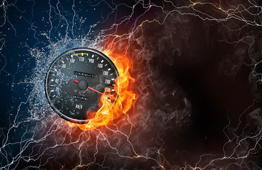Speedometer on fire and water