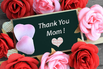 Thank you mom sign on chalkboard with heart and flowers