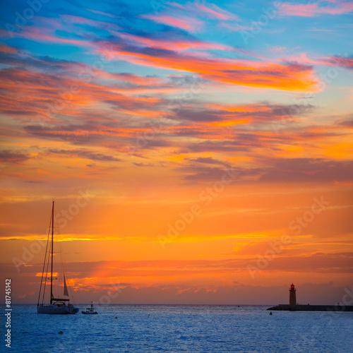 Leinwanddruck Bild Mallorca port de Andratx sunset in Mallorca