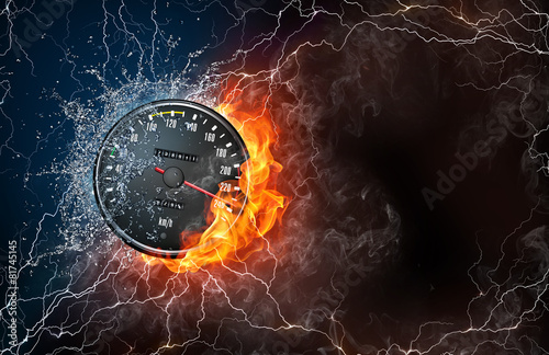 Speedometer on fire and water - 81745145