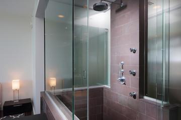 Slate tile bathroom standup shower