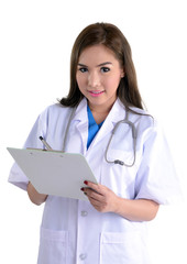 Female doctor writing on clipboard.
