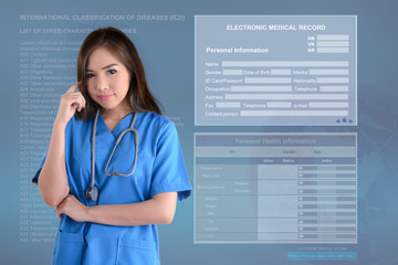 Female doctor and electronic medical background.