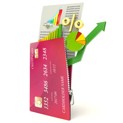 Chart and credit card on a white background