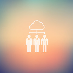 Three young man with cloud in flat style icon