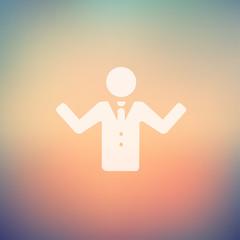 Man raising hand in flat style icon