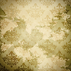 Vintage paper with damask patterns.