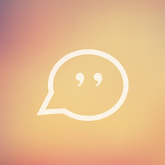Quotation Mark Speech Bubble in flat style icon