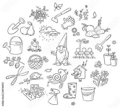 Cartoon Gardening Set, Black and White - 81746935