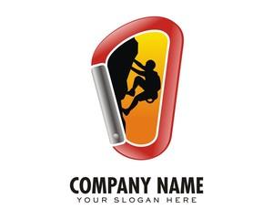 climbing silhouette cliff logo image vector