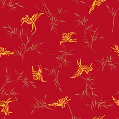 竹と小鳥、 It was simple and drew bamboo and a small bird  It repeats