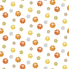 Seamless pattern of colorful balls and flowers