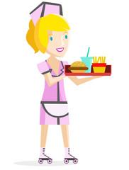 una camarera sirviendo comida rápida