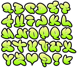 graffiti bubble vector fonts with gloss and outline lemon variat