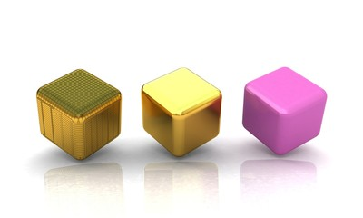 set of all metal cubes of gold, black gold, pink plastic