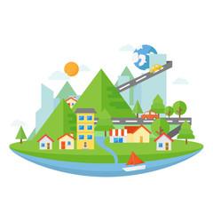 Landscape flat design, house and building flat design