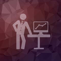 Businessman explaining graphic in flat style icon