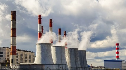 Central Heating and Power Plant, time-lapse 4k, ecology concept