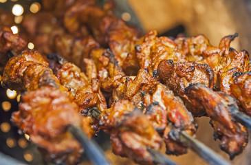 Chicken kebabs cooking in a tandoori oven