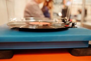 Turntable playing vinyl