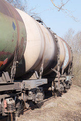 Tanks with fuel being transported by rail