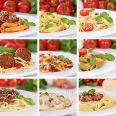 Italienisches Essen Collage von Spaghetti Food Pasta Nudeln Geri