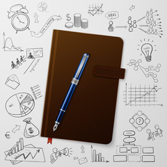 Notebook with doodles line drawing success strategy plan idea