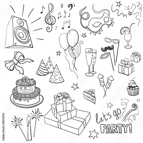 set of sketch party objects hand-drawn - 81751355