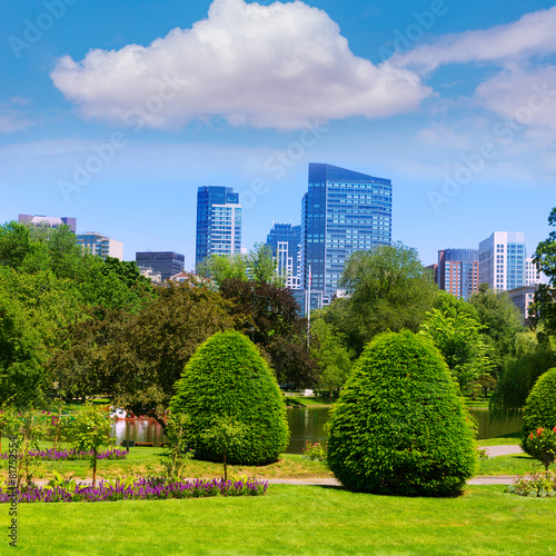 Foto op Canvas Texas Boston Common park gardens and skyline
