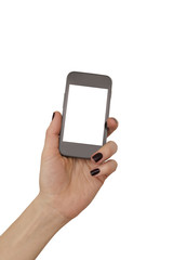 woman hand holding mobile phone isolated over white