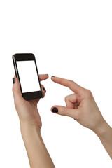 woman hands using mobile phone isolated over white