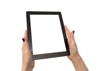 woman hands using touch pad isolated over white