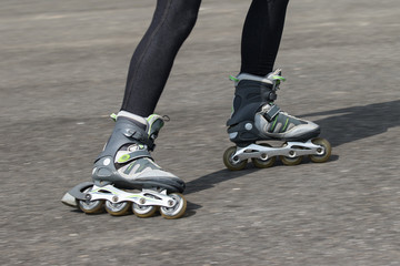 The in-line skates in motion