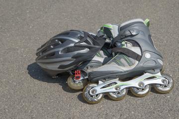 Helmet and rollerblades