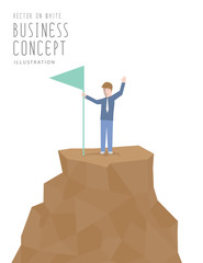 Businessman holding flag on top of mountain. Business success co