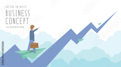 Businessman ride on paper plane to the top of the stock market f - 81753130