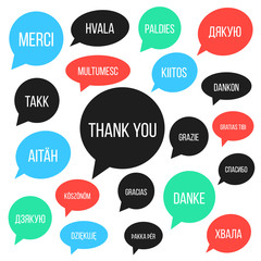 white thank you lettering in different languages in colored spee