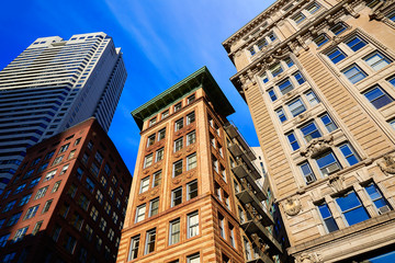 Boston in Massachusetts downtown buidings