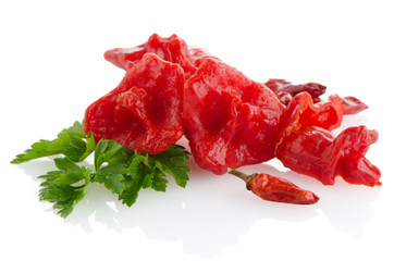Red peppers closeup