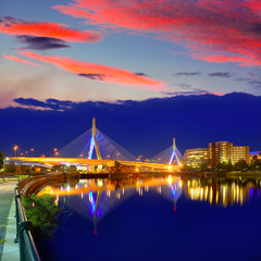Boston Zakim bridge sunset in Massachusetts