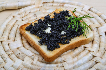 Black caviar toast