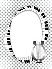 Musical frame with lyre and fingerboard on halftone background