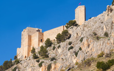 Castle  at cliff  in Jaen
