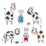 Cows and cats. Cartoon characters over white