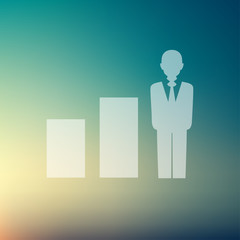 Man with growing diagram in flat style icon