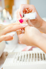 Nail treatment in beauty salon