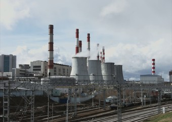 Central Heating and Power Plant time-lapse 4k, ecology concept