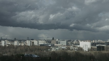 Moscow aerial wide time-lapse 4k panorama, stormy weather