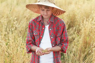 Portrait of teenage farmer boy is checking oat or Avena sativa