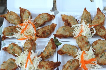 Fresh Gyoza fried with fresh vegetables